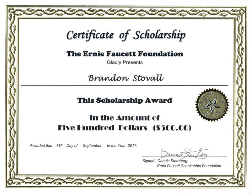 The Ernie Faucett Foundation Scholarship Recipient - Brandon Stovall